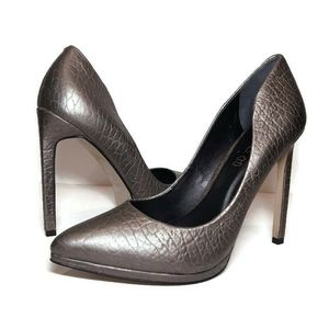 ALDO Leather Pointed Toe Metallic Stiletto Heels